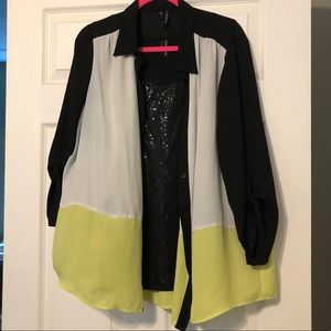Maurices Plus Size 2 Neon Button Up Blouse